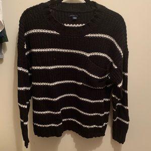 White and black striped American eagle sweater